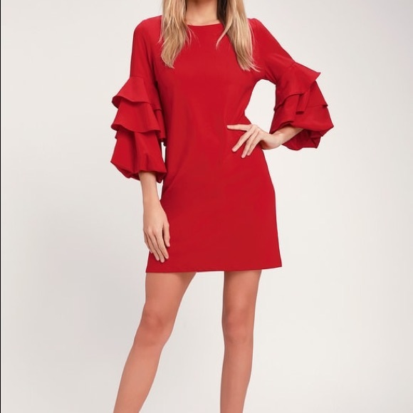 Gilli Dresses & Skirts - NWT Small Gilli Red Dress with Ruffle Sleeves